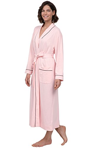 PajamaGram Ladies Bathrobe Soft Knit - Long Bathrobe Womens, Pink, Large, 12-14