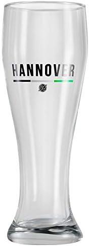 Vaso de cerveza de trigo Hannover 96 – Negro-blanco-verde – Cristal, cerveza, vaso de trigo H96- Plus marcapáginas I Love Hannover