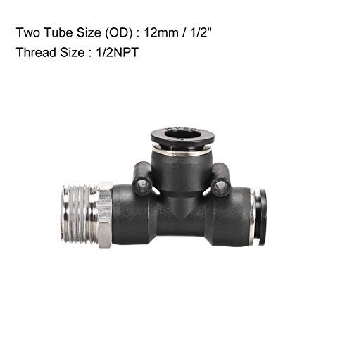 2NPT Male Thread Push Lock Plastic Tee Push to Connect Tube Fittings 12mmx1