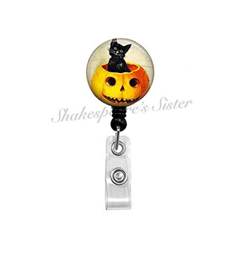 Halloween Badge Reel - Cat Badge Reel - Retractable Badge - ID Holder - Nurse Badge Reel - Pumpkin Badge Reel - Black Cat Badge Reel -
