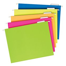 Pendaflex Glow Hanging File Folders, 1/5 Cut, 8 1/2in. x 11in., Letter Size, Assorted Colors, Box Of (Pendaflex Colored Hanging)