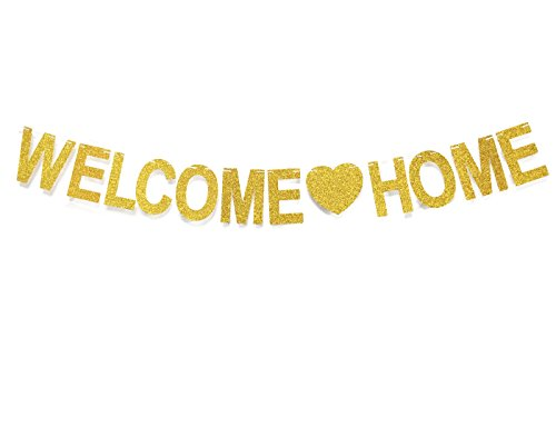 GZFY Welcome Home Gold Glitter Banner for Home Decoration Family Party Supplies Photo Booth -