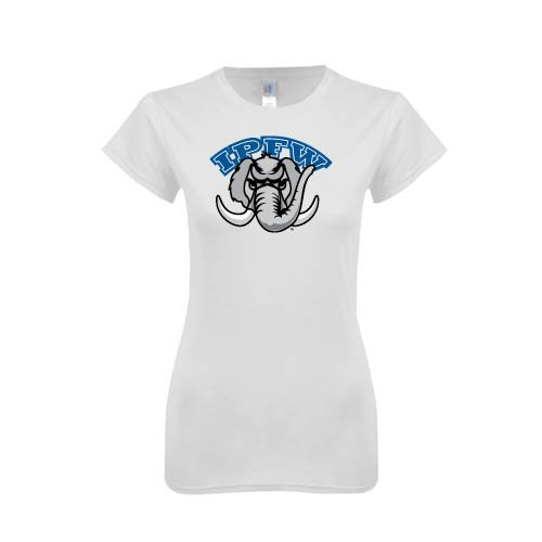 IPFW Next Level Ladies SoftStyle Junior Fitted White Tee 'Arched IPFW with Mastodon'