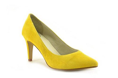 ConBuenPie by PIE LINDO - modelo SALON - Zapato de Ante de piel Color Amarillo, Coral, Rosa y Verde Amarillo