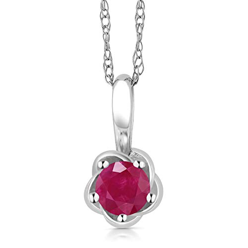 White Gold Round Locket - Gem Stone King 10K White Gold 0.25 Ct Round Red Ruby Flower Pendant With 18 Inch Chain