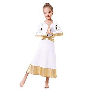 Kids Metallic Gold Cross Praise Dance Dress for Girls Liturgical Loose Fit Full Length Tunic Dancewear Worship Long…