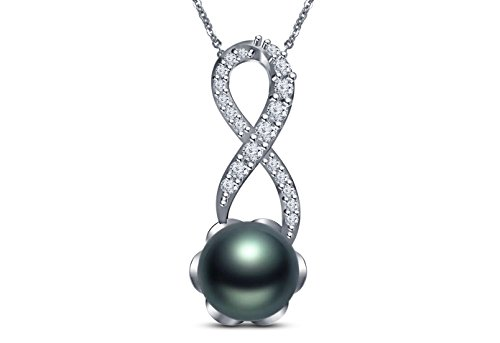 (9 mm Tahitian Cultured Pearl and 0.1 carat total weight diamond accent Necklace in 14KT White Gold)
