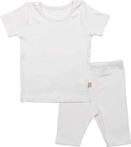 AVAUMA Newborn Baby Little Boys Snug-Fit Cool Pajamas Summer Short Sets Pjs Kids Clothes (2T / White) (Cotton Ribbed Pajama Set)