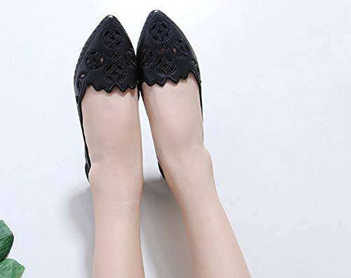 Pointu Noir Ballerines Bout Fille Femme Mode Ajourer Plates Aisun qxX6Pzw