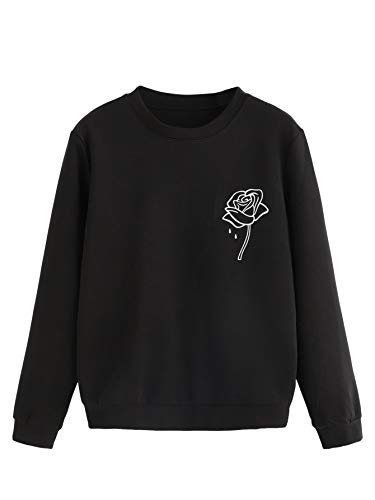 (SweatyRocks Women's Sweatshirts Crewneck Floral Print Long Sleeve Pullovers Shirt Top Black XL)