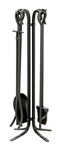 Uniflame, F-11140, 5-Piece Wrought Iron Toolset, Black (Iron Fireplace Cast Tools)