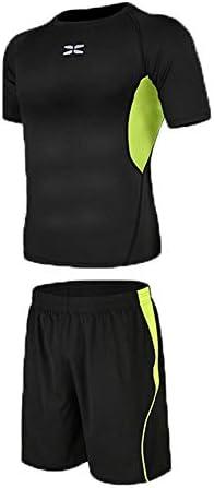レディースジャージ上下セット ルーズショートスリーブTシャツとルーズショーツでランニングメンズフィットネススポーツスーツトレーニングトレーニングのため 吸汗 速乾 (Color : Black green, Size : S)