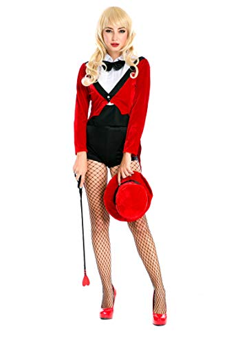 delia Womens Halloween Cosplay Costume, Magician Cosplay Dress (M, Red) -