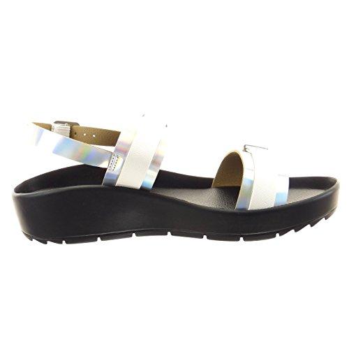 Sopily - Zapatillas de Moda Sandalias Tobillo mujer Hebilla tanga brillantes Talón Plataforma 3 CM - Plata