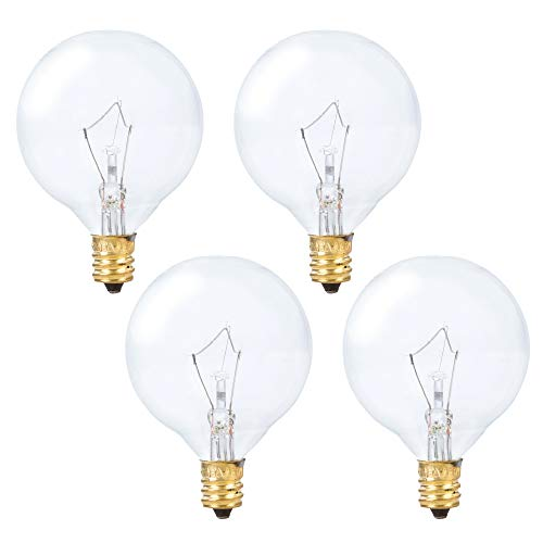 (Simba Lighting Scentsy Wax Warmer Globe G16.5 Round Bulb 25W E12 Candelabra Base (4 Pack) for Chandelier, Ceiling Fan, Decorative Vanity Lights, Sconce, Clear Glass, 110V 120V, 2700K Warm White)