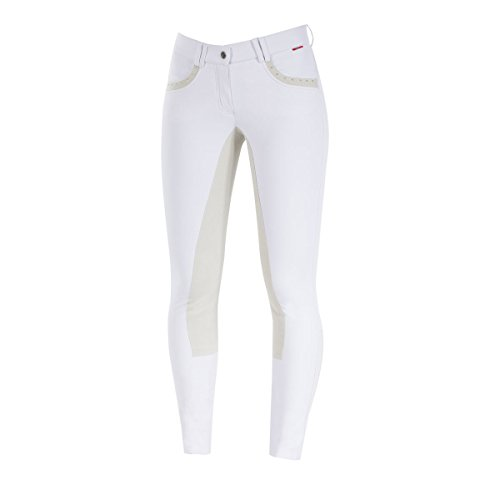 B Vertigo Denise Women's Mid-Rise Curvy Full Seat Breeches - Bright white size: 32