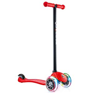 Globber 3 Wheel Kick Scooter with Patented Steering Lock and Optional LED Light Up Wheels (Red/Black LED Wheels)