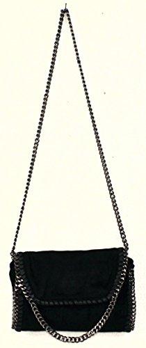 Limited-Colors - Cartera de mano de cuero de imitación para mujer Negro negro small Schwarz Velours