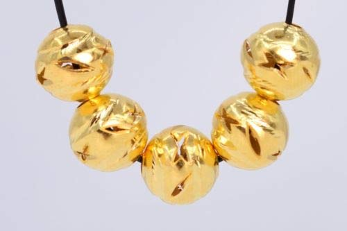 10 Pcs 8mm Gold Plated Spacer Beads Carve Round Loose Beads Hole 1.5mm Crafting Key Chain Bracelet Necklace Jewelry Accessories Pendants