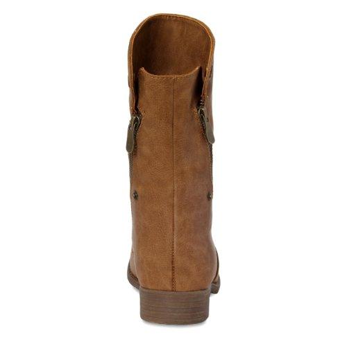 CASPAR Womens Vintage Ankle Boots / Boots / Cowboy Boots - various colours - SBO020 Cognac D2B5Q