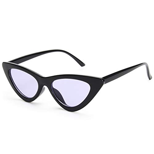 Livhò Retro Vintage Narrow Cat Eye Sunglasses for Women Clout Goggles Plastic Frame (Black Purple)