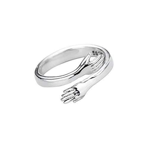 925Er Silber Love Hug Hands Offener Ring Schmuck Für Frauen MäNner Verstellbarer Umarmungsring Offener Paar HäNde Umarmen Verstellbaren Ring FüR Damen Und Herren (Silver)