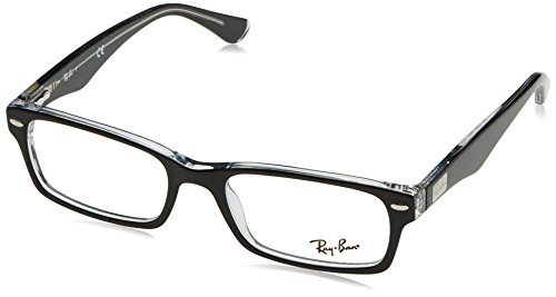 Ray-Ban RX5206 Rectangular Eyeglass Frames, Black On Transparent/Demo Lens, 52 ()