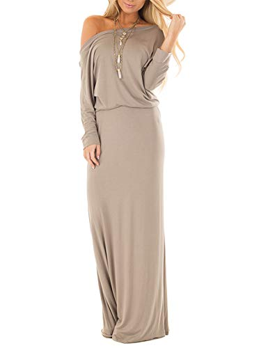(Womens Off The Shoulder Long Sleeve Dresses Casual Maxi Dress Light Coffee Medium)