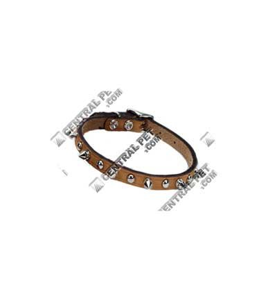 Coastal Pet Products DCP01703K10TAN Leather Circle T Oak Tanned Embellished and Spiked Dog Collar, 10 by 3/8-Inch, Tan