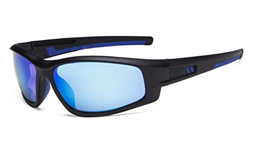 - Eyekepper Bifocal Sunglasses for Sports TR90 Outdoor Sunshine Readers (Black Frame - Blue Mirror Lens, 1.50)