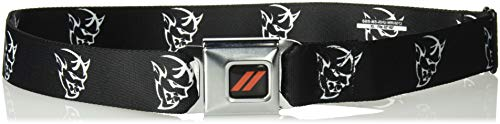 Buckle-Down Men's Seatbelt Belt Dodge XL, Dodger Demon icon Black/White, 1.5