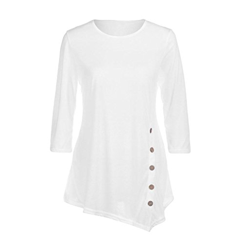 White Linen Tunic (2018 Women Long Sleeve Loose Button Trim Blouse Solid Color Round Neck Tunic T-Shirt by TOPUNDER)