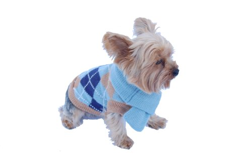 Argyle Knit Dress (Anima Blue Knit Argyle Seater with Matching 14-Inch Scarf, Small)