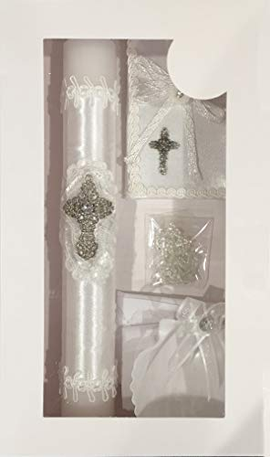 New Boys or Girls Baptism Christening Candle Box Gift 5 Pc Set Shell Missal Book in English ()