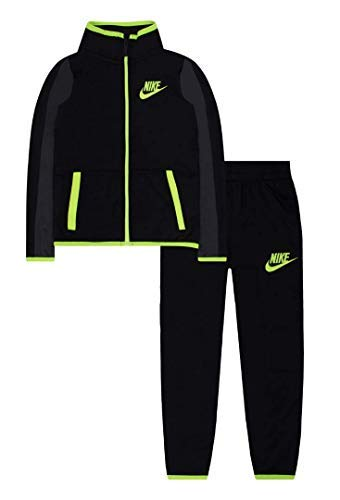 Nike Boys Jacket & Pants Track Suit Set Sweatsuit (4, Black Yellow) ()