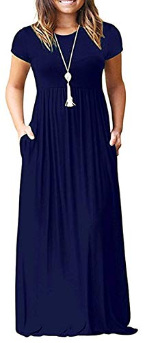 (GULE GULE Women Empire Waist Short Sleeve Soft Plain Long Maxi Pocket Dress, A_a Short Navy Blue, Medium)