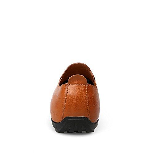 Mocassino Red in Pelle Slip Dimensione EU 40 Tacco Piatto Guida da su Vamp Mocassino con Uomo Color Brown Stile Vera 0ZqPq