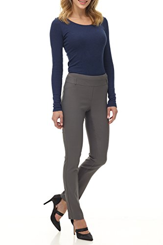 Rekucci Women's Ease in to Comfort Fit Stretch Slim Pant (12,Graphite)
