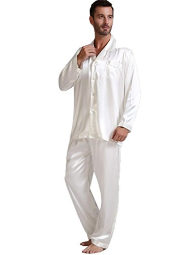 Mens Silk Satin Pajamas Set Sleepwear Loungewear White XL