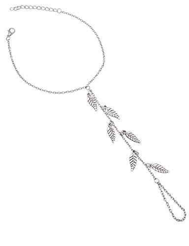 Bienvenu 2 Pcs Women's Foot Anklet Tassel Leaves Barefoot Sandals Beach Wedding Jewelry, Silver_Leaves