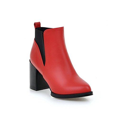 Elastic Leather Band Ladies Heels Boots Imitated BalaMasa Red Pinker Winkle Chunky OA1XRqnq7