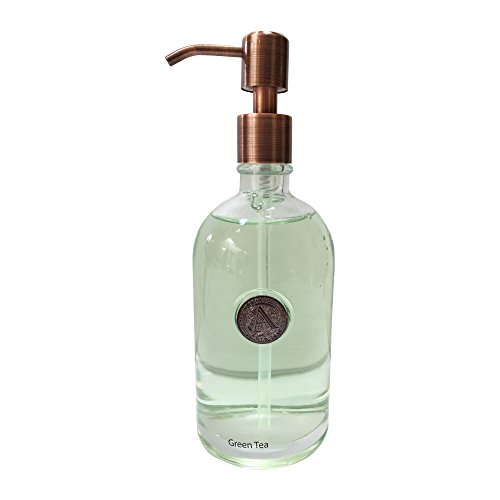 (Hand Soap by Aroma Aria | Green Tea | Luxurious Decorative Refillable Glass Bottle with Titanium Pump | 12 fl.oz.)