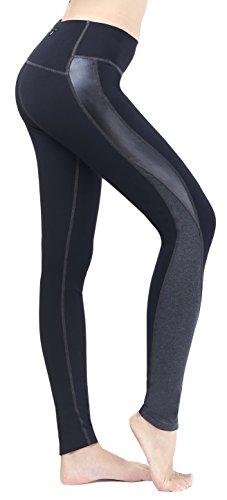 Neonysweets Mujeres Leggings Delgada Medias Deportiva Pantalones Entrenamiento Negro/Gris