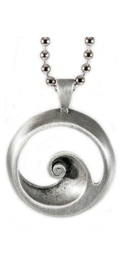Lead Free Pewter Pendant (Stylish wave curl Lead-free Pewter Barrel Pendant)