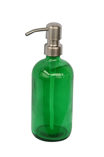 Industrial Rewind Green Glass Soap Dispenser with Stainless Metal Pump - Green 16oz Glass Bottle Lotion Bottle