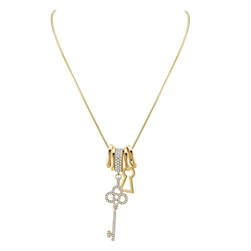 (Lavencious Multi Charm Key with Diamond Rings Dangle Pendant Long Necklace Chain for Women Wedding Party 36