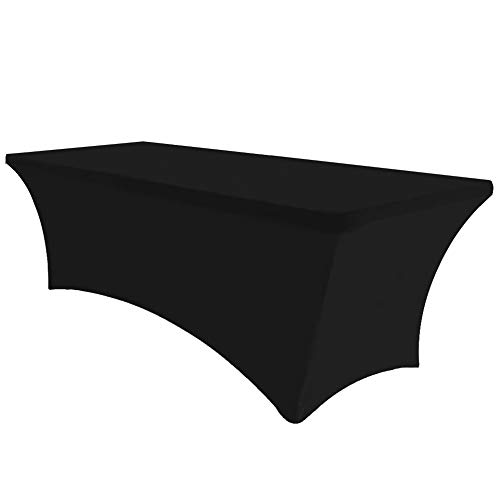 Eurmax 8Ft Rectangular Fitted Spandex Tablecloths Wedding Party Table Covers Event Stretchable Tablecloth (Black)