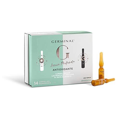 Germinal Antioxidant Serum für Tag und Nacht: Das Serum besitzt Vitamin C, E, B12 und LSF 30. Zudem hat es einen Anti-Flecken und Anti-Age Effekt. 7 Ampullen für den Tag + 7 für die Nacht zu je 1 ml.