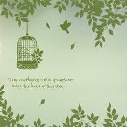Bird Cage among Green Vine Leaves Sofa Bed TV Background Large Plane Wall Decal Stickers
