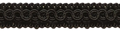 12.5 Meters of 1.27cm Basic Trim Decorative Gimp Braid, Style# 0050SG Color: BLACK - K9, (41 Ft) DecoPro